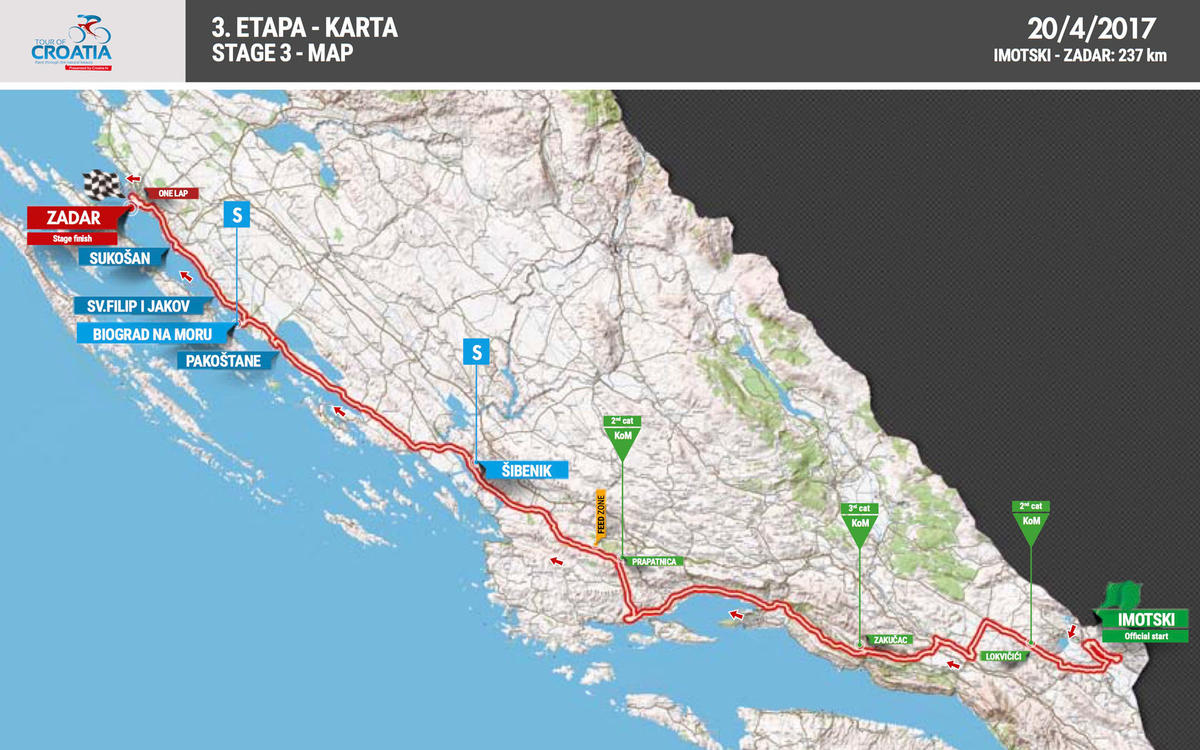 imotski karta Stage 3: Imotski   Zadar (20.04.2017.)   Stages   Tour of Croatia 2017 imotski karta